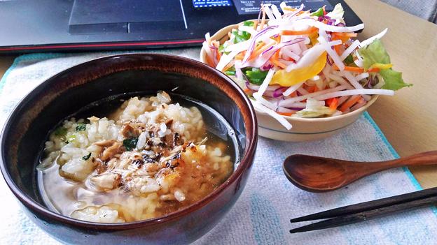 炙り焼さば御飯 ( お茶漬け ) + サラダ