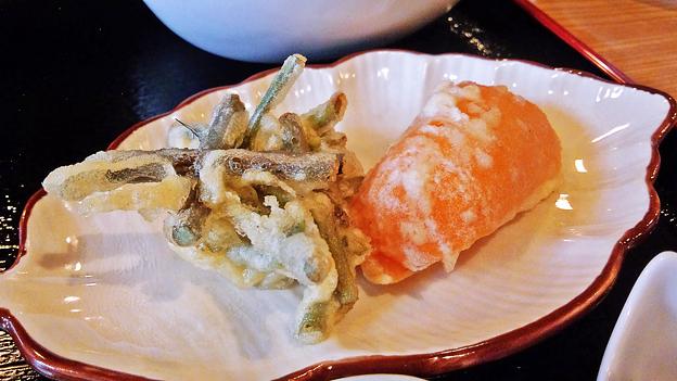 だいこん ( 練馬区旭町 or 成増 ) わらびとパプリカの天ぷら ( 焼魚定食 )  2019/05/18