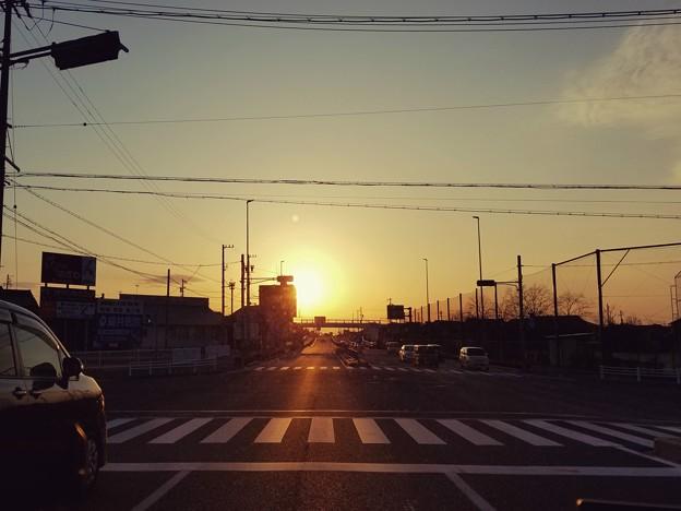 夕日の交差点