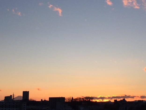 富士山と夕陽と雲2018.2.13