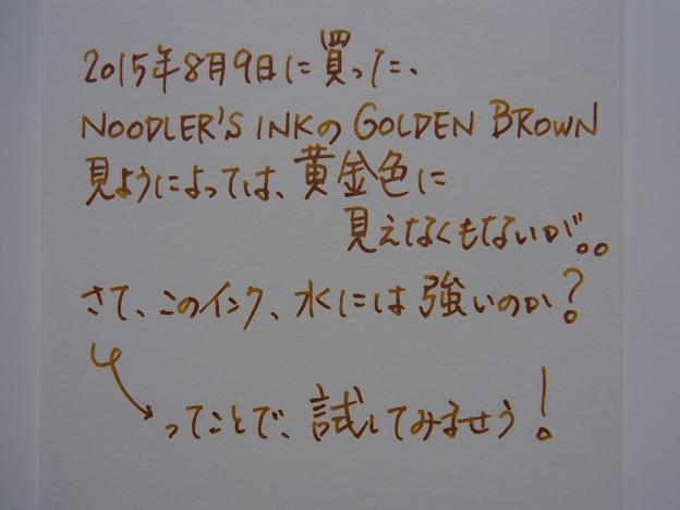 Water resistant examination of Noodler's Ink Golden Brown (before)