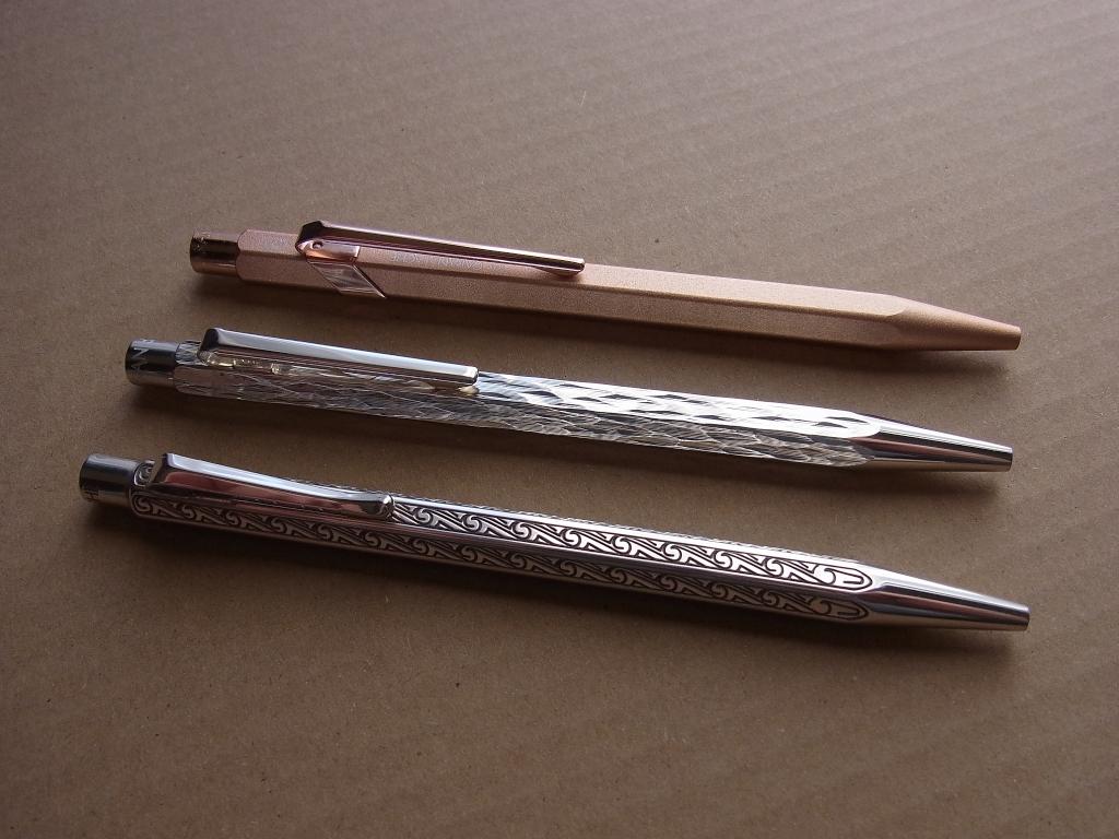 CARAN d'ACHE 849 BRUT ROSE & Ecridor Venetian & Ecridor Ammonite (Sterling Silver)
