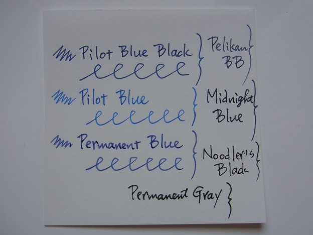 Pilot BB and Blue Water Resistant Test (before, comparison other ink)