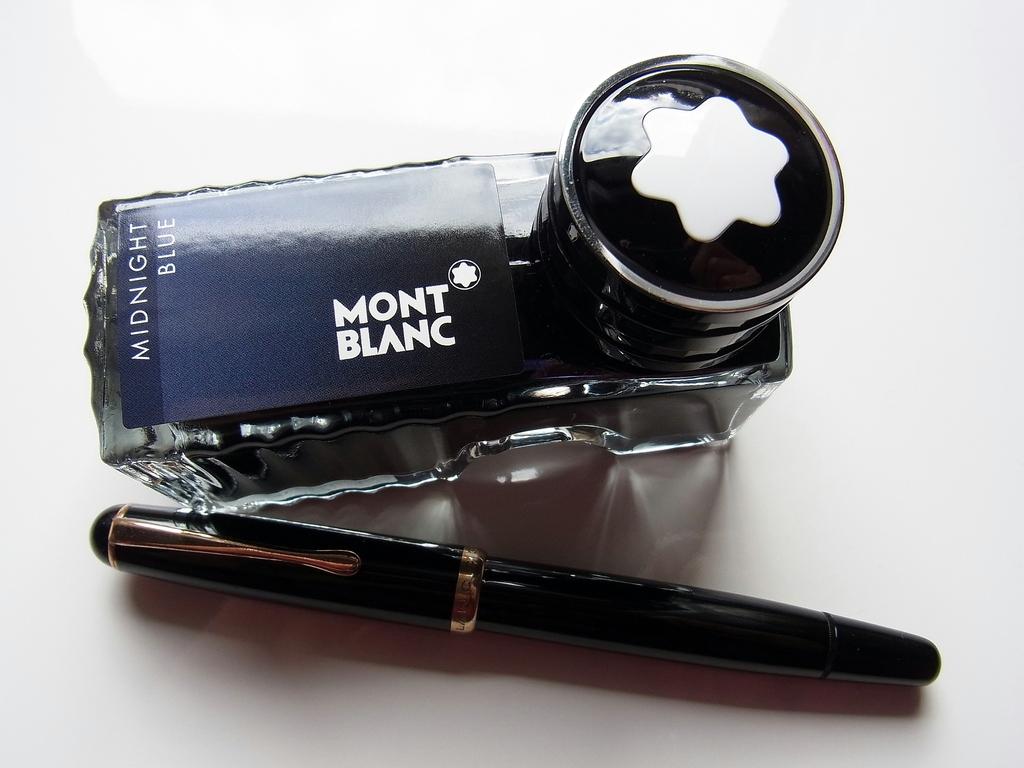 Montblanc Midnight Blue (Non-Iron Gall Formula) Bottle & Montblanc 344