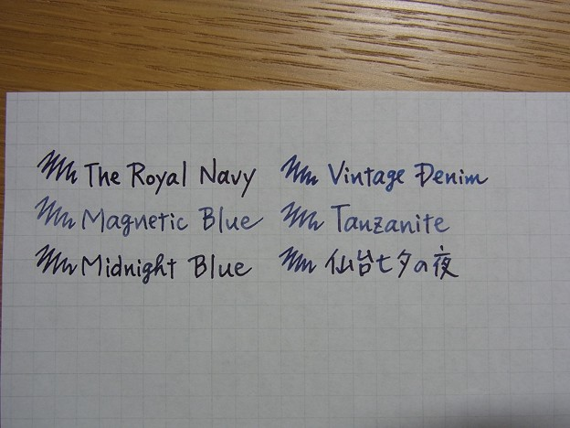 The Royal Navy ink comparison other ink