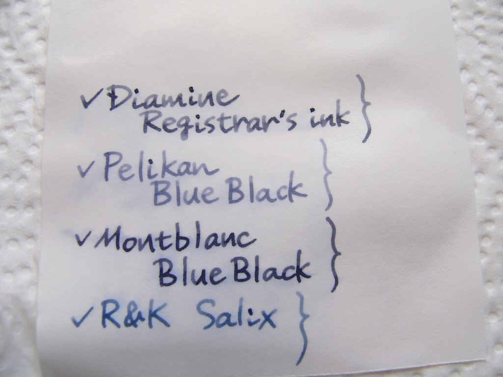 Diamine Registrar's ink Handwriting 4 (Water Proof Test)