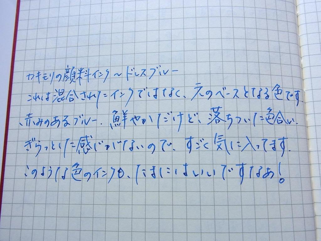 カキモリ 顔料インク ドレスブルー ダイソー100円ノート