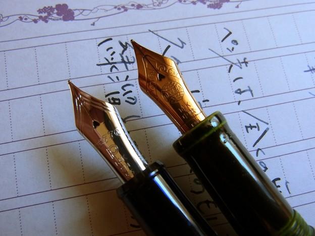 緑溜とシャルトルブルー 中軟ペン先の比較
