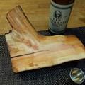 写真: スモモの原木加工