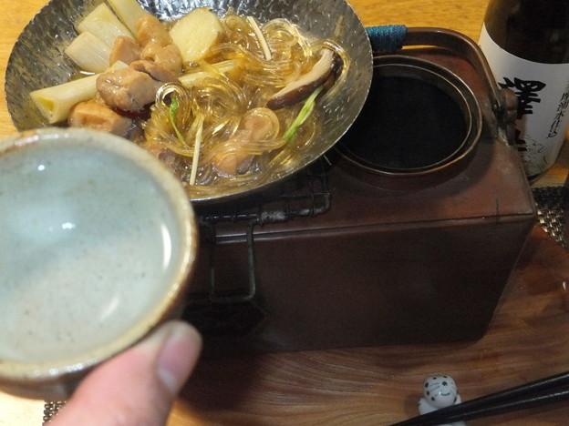 葛きりと鶏の鍋