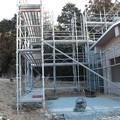 富幕山休憩舎展望デッキ取り付け階段工事