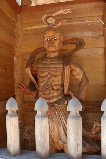 菊川正林寺門の金剛力士 口を結んだ吽形(うんぎょう)仁王像