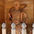 Photos: 菊川正林寺門の金剛力士 口を結んだ吽形(うんぎょう)仁王像