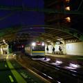 夕闇の国道駅