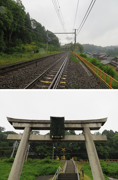 若宮八幡社鳥居・東海道本線(関ケ原町)