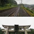 Photos: 若宮八幡社鳥居・東海道本線(関ケ原町)