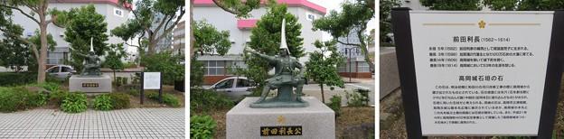 前田利長像(高岡駅南口。富山県)