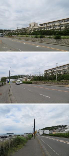 行合橋交差点・県立七里ガ浜高校(鎌倉市七里ガ浜)
