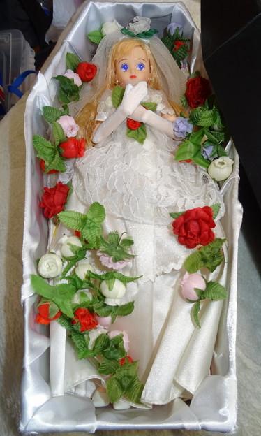ウェディングドレスを着て入棺体験をするティモテ