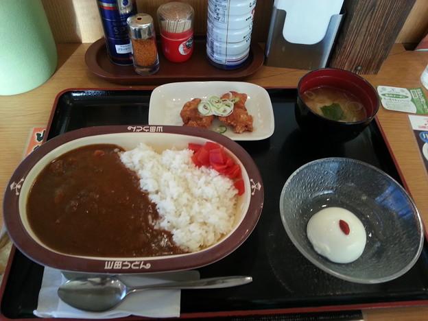 山田うどん かかしカレー 杏仁豆腐 無料クーポン唐揚げ