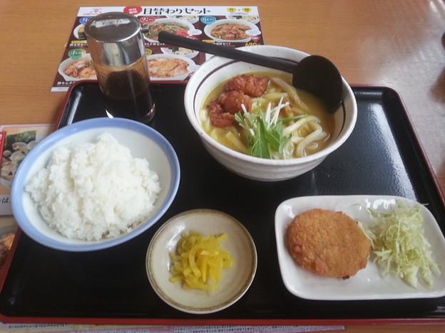 山田うどん カレーうどん ライス  クラムチャウダーコロッケ