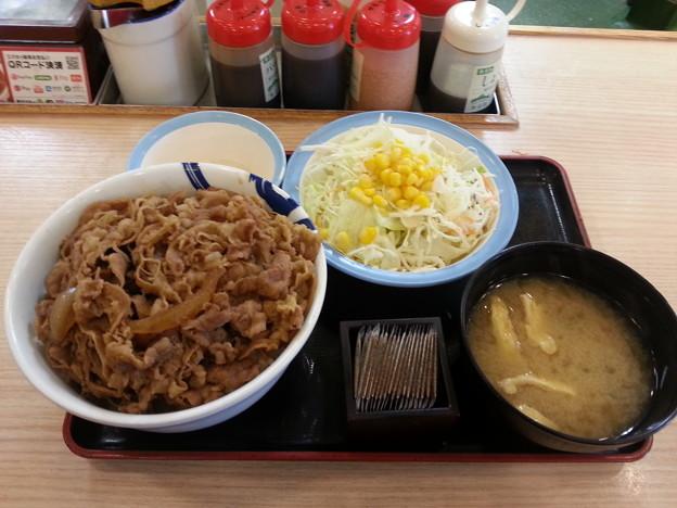松屋 特盛 牛丼生野菜半熟玉子セット