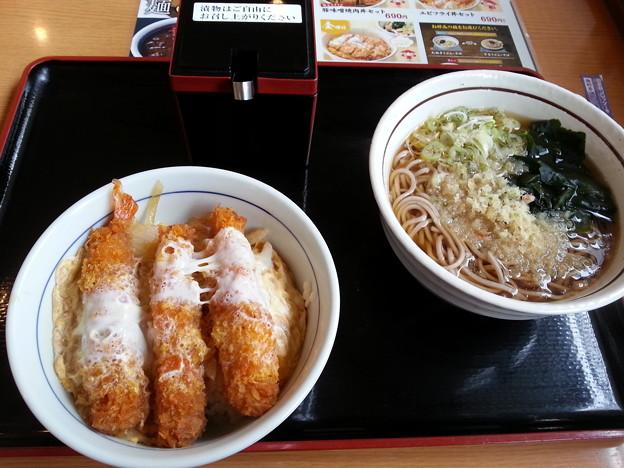 山田うどん 日替わり  エビフライ丼セット