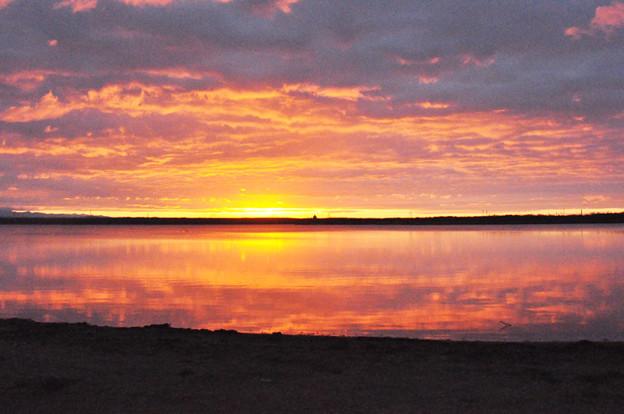 ウトナイ湖の朝焼け