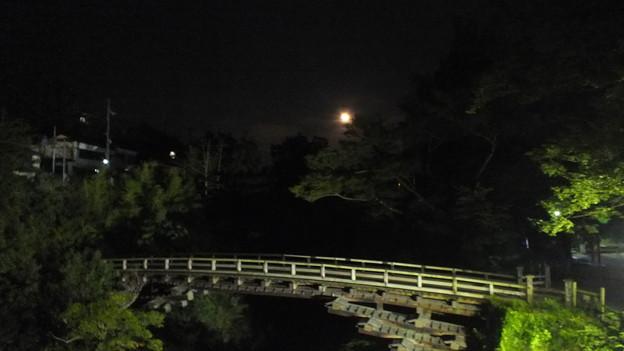 山梨県猿橋と大きな月 夜景