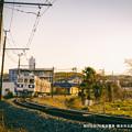写真: 朝日を浴びる菊池電車。