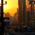 写真: 朝焼けの街