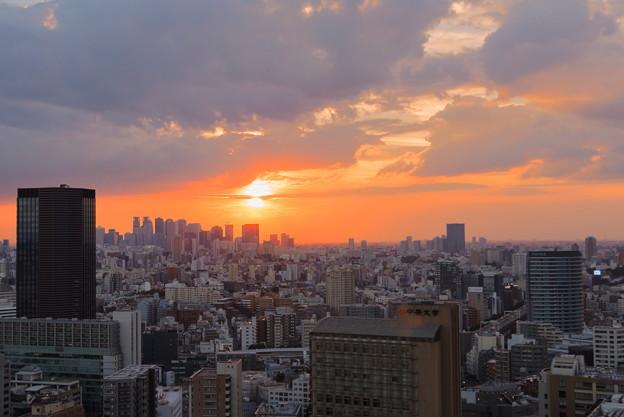 東京都 文京区役所から 夕日 夕焼け(2)