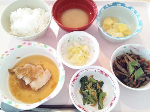 3月24日昼食(鶏肉のネギ醤油掛け) #病院食