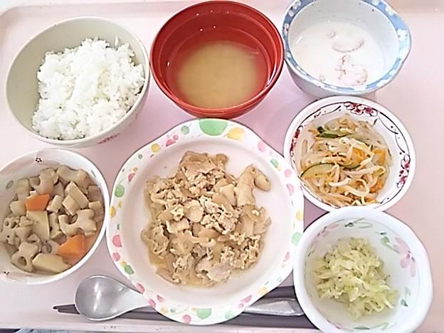 5月27日昼食(豚肉の生姜焼き) #病院食