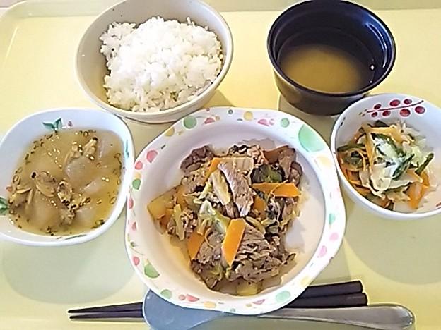 6月25日夕食(牛肉と野菜のオイスターソース炒め) #病院食
