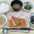 7月12日夕食(赤魚の香り蒸し) #病院食