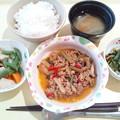 8月13日夕食(牛肉のスタミナ炒め) #病院食