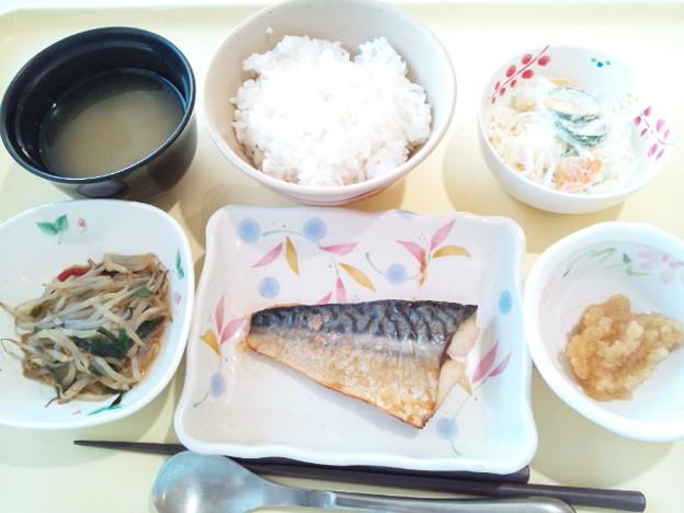 8月14日夕食(鯖の塩焼き) #病院食