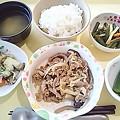 8月15日夕食(豚肉のくわ焼き) #病院食
