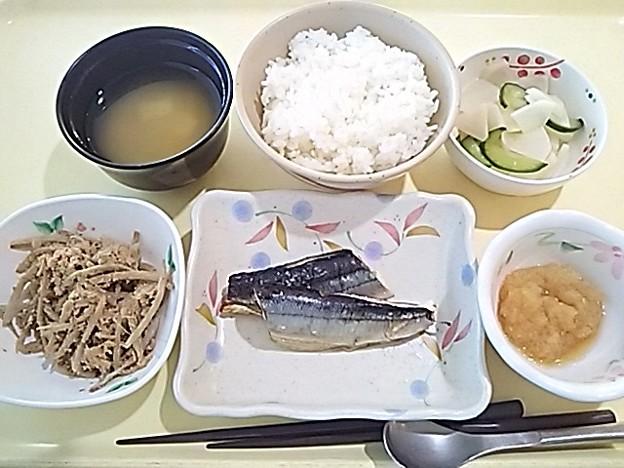 8月21日夕食(さんま塩焼き) #病院食