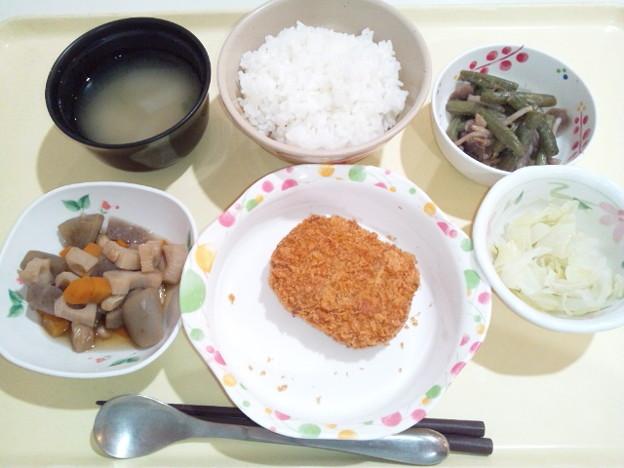9月21日夕食(肉じゃがコロッケ) #病院食