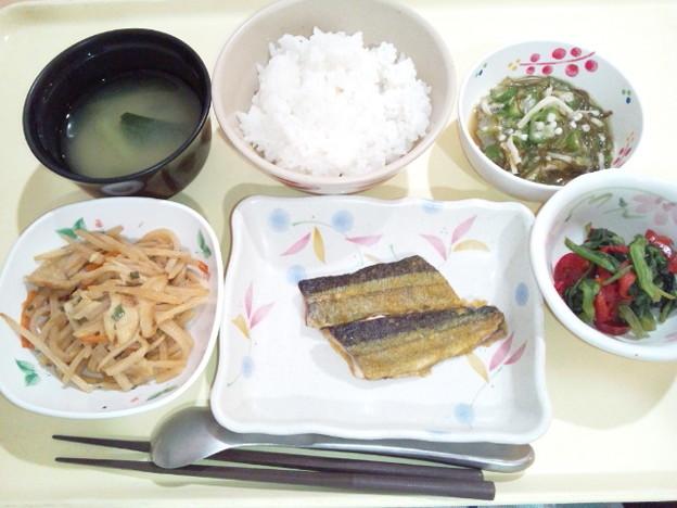 9月22日夕食(さんまのカレー風味焼き) #病院食