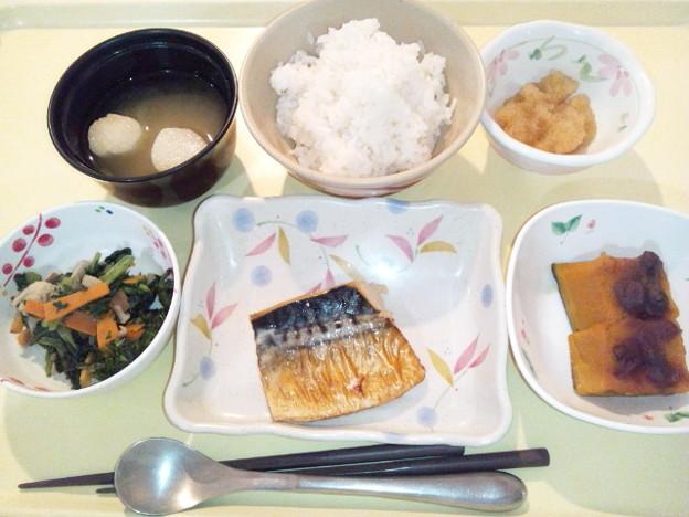 10月17日夕食(鯖の塩焼き) #病院食