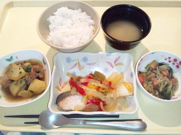 10月19日夕食(鮭の焼き南蛮漬け) #病院食