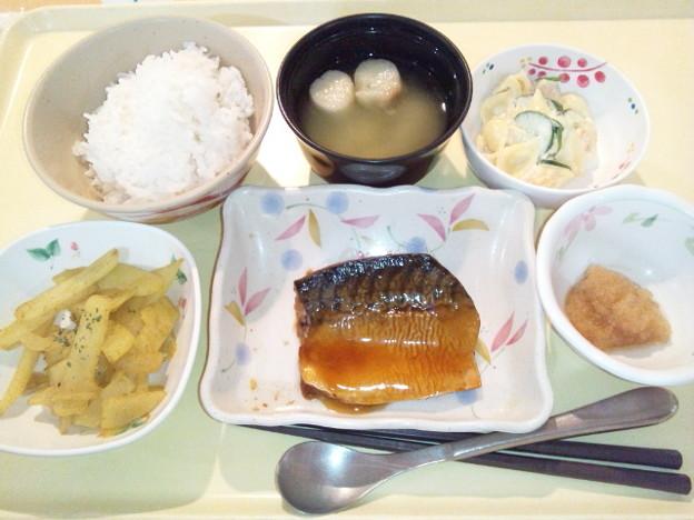 12月18日夕食(鯖の照り焼き) #病院食