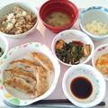 Photos: 3月21日昼食(餃子・しじみの炊き込みご飯) #病院食 ※おかずは白身魚(ホキ)を私が止めている為に変更