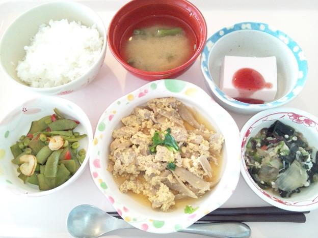 4月23日昼食(牛肉の柳川風) #病院食