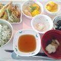 8月14日昼食(天ぷら盛り合わせ・しらす菜飯) #病院食