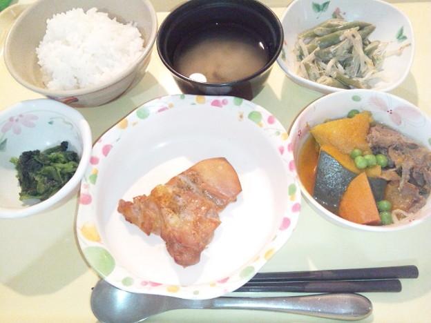 9月16日夕食(鶏の山椒焼き) #病院食