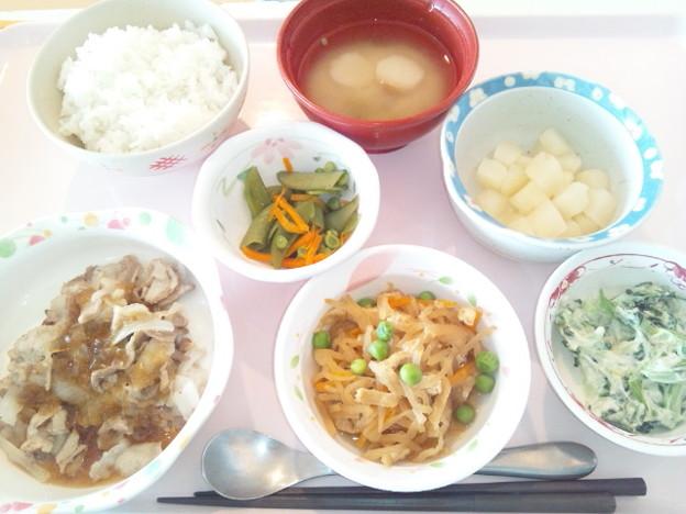 9月17日昼食(豚のソテーおろし玉ねぎソース) #病院食